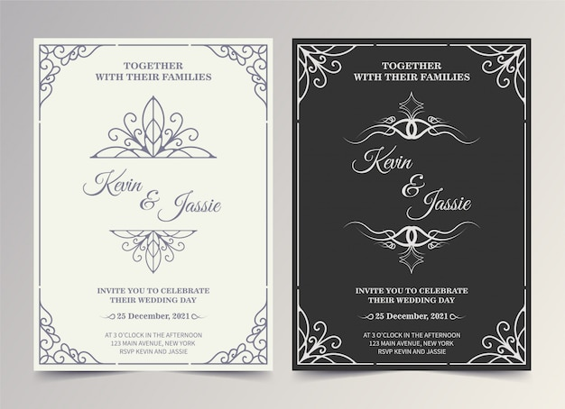 Vintage style vector design invitation card