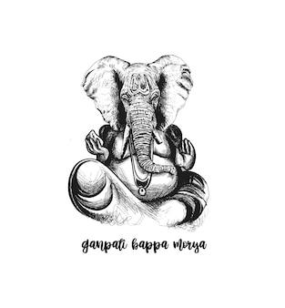 ヴィンテージスタイルのベクトル象神ガネーシュハッピーガネーシュチャトゥルティのイラスト