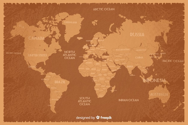 Vintage style world map with country names