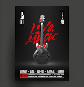 Vintage styled retro live rock music party or event poster,