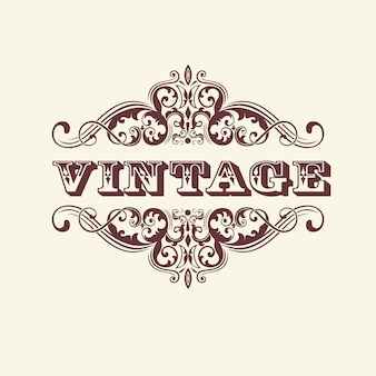 Segno in stile vintage. con elementi floreali. elegante elemento per la progettazione di un invito.