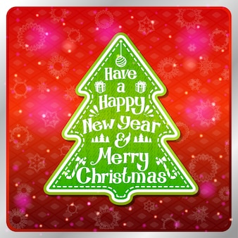Vintage stylized green merry christmas and happy new year label in shape of tree