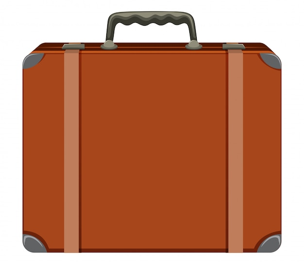 A vintage suitcase on white background
