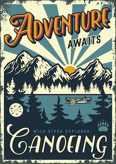 Vintage summer adventure poster