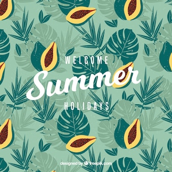 Vintage summer background with palm leaves and papaya