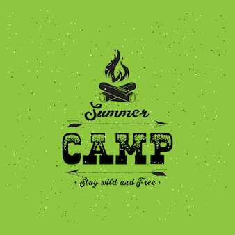 Vintage summer camp badge and other outdoor logos and emblems with labels on green background.