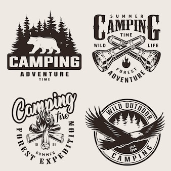 Vintage summer camping labels