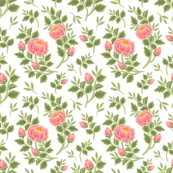Vintage summer floral seamless pattern of peach peony bouquet, flower buds and leaf branch arrangements