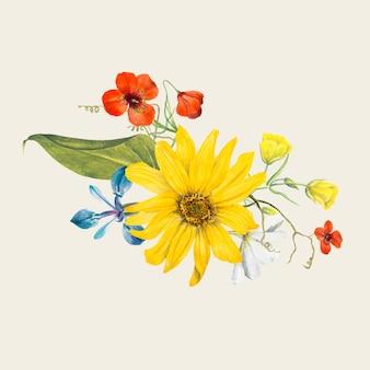 Vintage summer flower illustration, remixed from public domain artworks