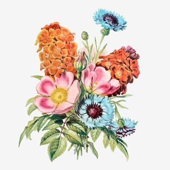 ヴィンテージ夏の花花束ベクトル