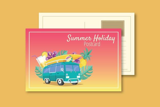 Vintage summer holiday postcard template