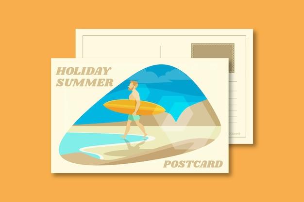 빈티지 여름 휴가 엽서 서식 파일