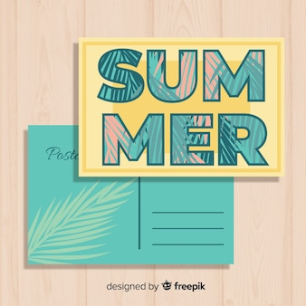 Vintage summer holiday postcard template