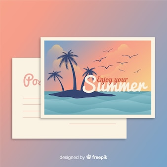 Vintage summer holiday postcard