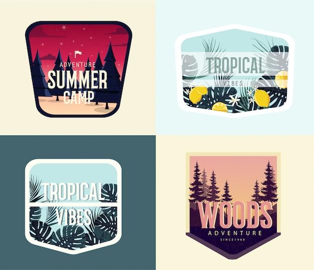 빈티지 여름 일러스트 디자인 모음입니다. 여름 캠프 모험 프리미엄 벡터