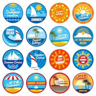 Vintage summer labels. tropical holiday vector logos with typography - emblems with sun and sea