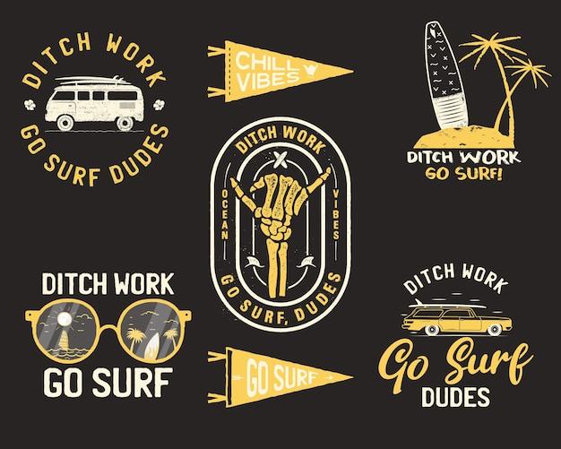 ヴィンテージの夏のロゴ、サーフィンバッジセット。
