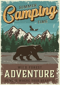 Vintage summer outdoor camping poster