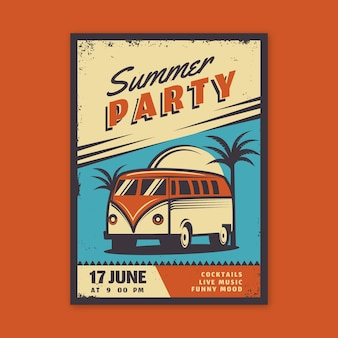 Vintage summer party poster design
