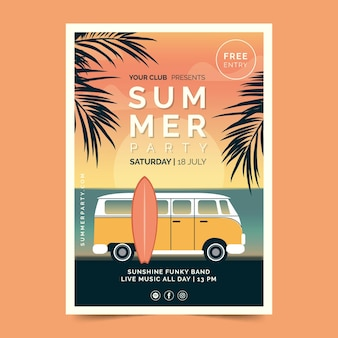 Vintage summer party poster template