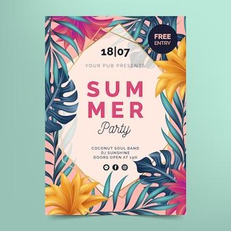 Modello di manifesto del partito estivo estivo