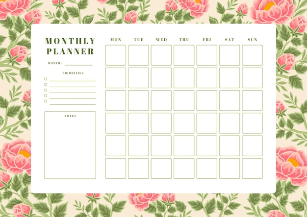 Vintage summer peach peony flower monthly planner template