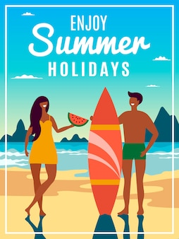 Vintage summer poster with of couple with surfboard