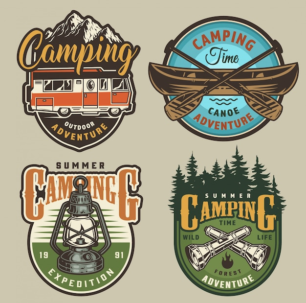 Vintage summer recreation badges