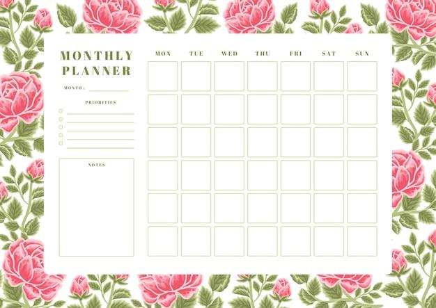 Vintage summer red rose flower monthly planner template