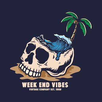 Vintage summer skull week end vibes