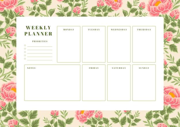 Vintage summer & spring peony flower weekly planner template
