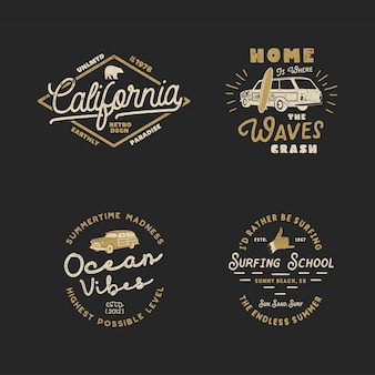 Vintage summer surfing badges collection.