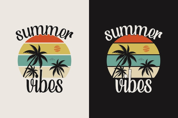 Vintage summer vibes lettering with palm tree