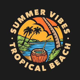 Винтажный летний значок тропического пляжа