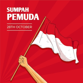 Vintage sumpah pemuda background with flag