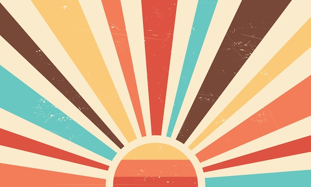 Vintage sun retro banner background.