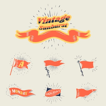 Vintage sunburst flags