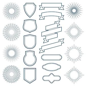 ビンテージサンバーストフレーム、リボン、ラベルベクトルアールデコスタイルの要素