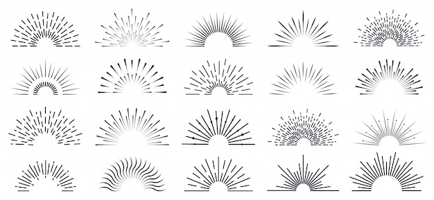 Vintage sunburst. retro radiant sunburst, starburst hand drawn label, sun rays, firework radiant rays. bursting explosion lines   icon set. sunshine radial, starburst linear illustration