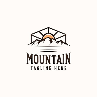 Vintage sunrise mountain pine tree evergreen tree for outdoor adventure logo design template
