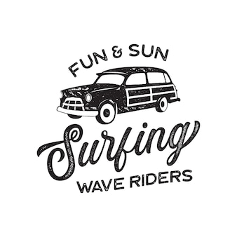 Vintage surf logo print design for t-shirt and other uses. fun and sun typography quote calligraphy and van icon. unusual hand drawn surfing graphic patch emblem. stock vector.