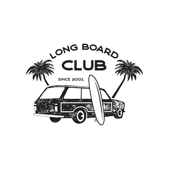 Vintage surf logo print design for t-shirt and other uses. long board club typography quote calligraphy and van car icon. unusual hand drawn surfing graphic patch emblem. stock vector.