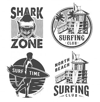Vintage surf logos monochrome set