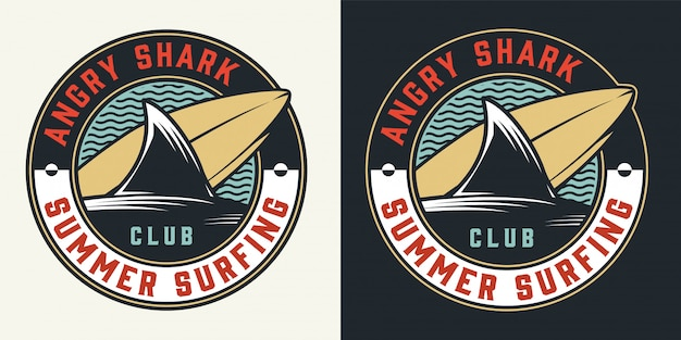 Vintage surfing club round colorful label