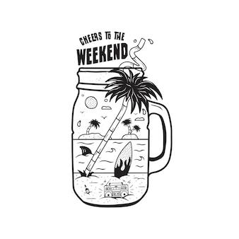 ウェブデザインやシャツ用のビンテージサーフィングラフィックプリント。レトロなテープレコーダー、手のひら、サーフボード、海、瓶の中のサメと珍しいビーチシルエットサーフシーンの風景。屋外の夏。株式ベクトル。