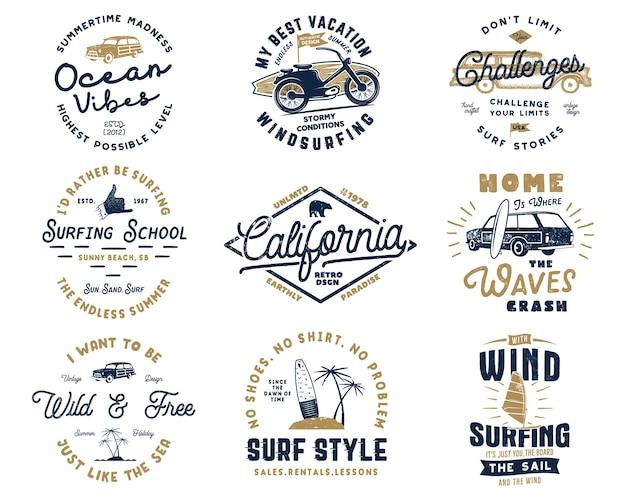 Винтажный набор графики для серфинга и эмблемы для веб-дизайна или печати. шаблоны логотипов серфера. значки серфинга. летняя коллекция знаков отличия типографии для футболки. заплаты битника вектора изолированные на белизне.