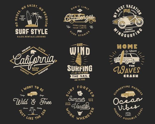 Винтажный набор графики для серфинга и эмблемы для веб-дизайна или печати. шаблоны логотипов серфера. значки серфинга. летняя коллекция знаков отличия типографии для футболки. заплаты битника вектора изолированы.