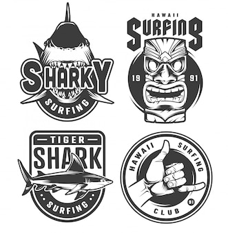 Vintage surfing monochrome emblems