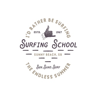 Vintage surfing. surf school with shaka hand sign and retro typography