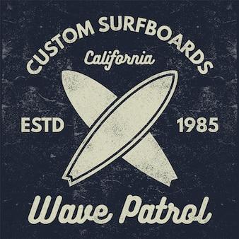 Vintage surfing tee logo
